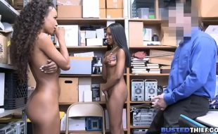 Black Stepsisters Fucked By White Security Guard